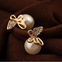 Butterfly And Pearl Statement Earrings