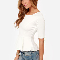 LULUS Exclusive Perk Up Ivory Peplum Top