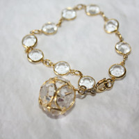 Crystal Bracelet Bezel Set 1940s Jewelry Bridal Wedding