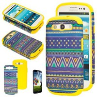 Aztec Tribal Print Vintage Design Hybrid Hard Case Silicone Cover Shell for Samsung Galaxy S3 SIII i9300 w/ Screen Protector (Yellow)