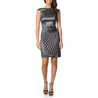 London Times Women's Steel Metallic Pleated Dress