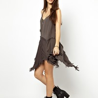 Free People Slip Dress with Shredded Hem