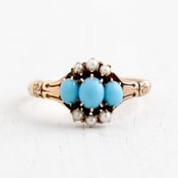 Antique Victorian 10k Rose Gold Turquoise & Seed Pearl Ring - Size 7 1/2 1800s Fine Jewelry
