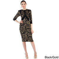 Women's Black and Goldtone Printed Formal Dress