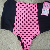 Classic Cheeky Neon Pink Polka Dot Black High Waist Bikini with Scrunch Detail in back