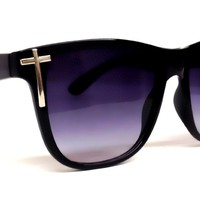 Silver Cross Black Wayfarer Sunglasses
