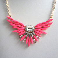 Fashion Bohemian Style Rose Resin Rhinestone Flower Necklace Pendant