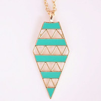 Fashion Turquoise Metal Enamel Hollow Out Triangle Pendant Necklace