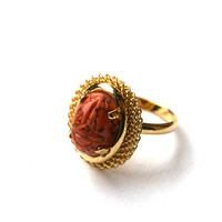Coral Scarab Ring Adjustable Gold Tone Vintage Oval Glass Cabochon with Egyptian Etched Scarab Matrix Design