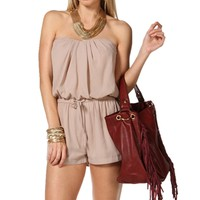 Taupe Strapless Lace Side Romper