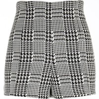 Black dogtooth check high waisted shorts - shorts - sale - women