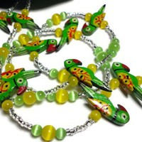 Lanyard Necklace Colorful Parrot Bird Green Yellow Fashion Id Jewelry | PinkCloudsAndAngels - Accessories on ArtFire