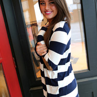 Navy + Ivory Elbow Patch Cardi