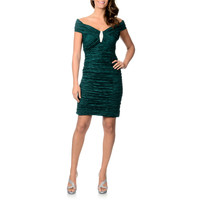 Cachet Women's Ruched Taffeta Cocktail Dress