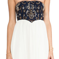 TFNC London Nancy Strapless Dress in Navy & Cream from REVOLVEclothing.com