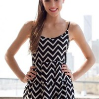 Black and White Zigzag Playsuit with Ruffle and Tie-Up Back