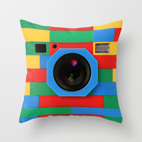 classic retro full color rubik cube camera Throw Pillow case by Three Second