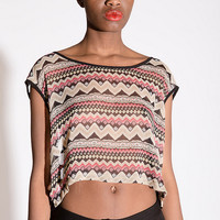 Tribal Print Top With Strappy Back- Found on Bib + Tuck