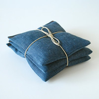 Organic Lavender Sachets in Blue Chambray Linen - Set of 3