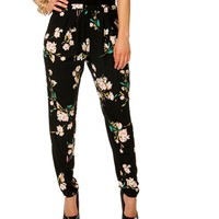 Black/Multi-Color Floral Pants