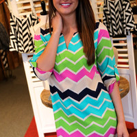 Multi Chevron Shift Dress