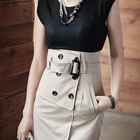 Trench Coat Inspired. High Waist Belted Black Beige One Piece Dress | GlamUp - Clothing on ArtFire