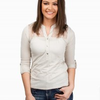 LACE INSET HENLEY TOP
