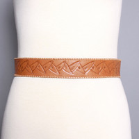 50s TOOLED Leather WESTERN BELT / Rockabilly Golden Brown, s