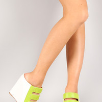 Donya-26 Strappy Two Tone Mule Wedge