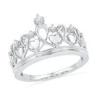 Diamond Accent Heart Crown Ring in Sterling Silver