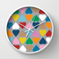 Diamond Hearts on Grey Wall Clock by Project M