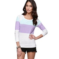 Nollie Womens Long Sleeve Colorblock Raglan Top