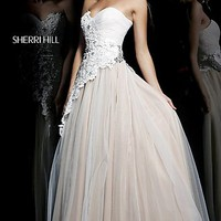 Long Strapless Ivory Ball Gown