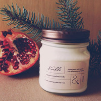 SALE - Noelle (free shipping) : Pomegranate & Spruce Scented Soy Candle - 8oz.