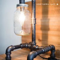 Handmade Iron Pipe Lamp - Industrial Piping Light - Mason Jar- E12 Bulb 25 Watt - Candelabra Bulb - Canada Made