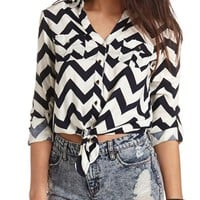 PRINTED TIE-FRONT BUTTON-UP TOP