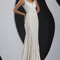 Full Length Beaded V-Neck Formal Gown