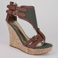 canvas shield open toe wedge &amp;#36;23.50 in BEIGE BLACK OLIVE - New Shoes | GoJane.com