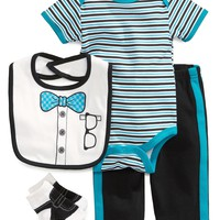 Cutie Pie Baby Baby Boys' 4-Piece Bib, Bodysuit, Pants & Crib Socks Set