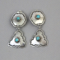 60s STERLING & TURQUOISE Concho Earrings / Large SOUTHWESTERN Clip ons