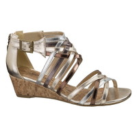 Reba metallic gladiator wedge