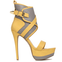 Elby Platform Sandal in Yellow Grey