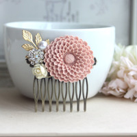 A Large Powder Blush Pink Chrysanthemum Flower, Ivory Rose, Gold Leaf, Pearl Antiqued Brass Hair Comb. Pink Wedding Comb. Bridesmaids Gift.