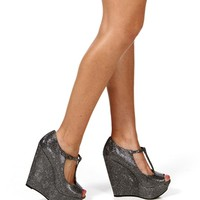Pewter Glam Strap Wedges