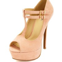PEEP TOE DOUBLE T-STRAP PLATFORM PUMPS