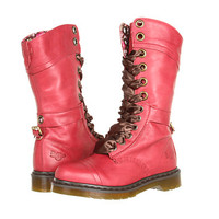 Dr. Martens Triumph 1914 W 14-Eye Boot Cherry Red Darkened Mirage - Zappos.com Free Shipping BOTH Ways