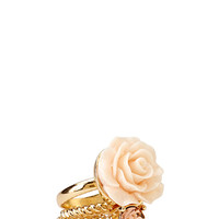Glitzy Rose Ring Set