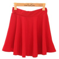 Junior Girls High Waist Stretch Waist Flared Plain Pleated Casual Mini Skirt