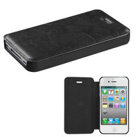 Book-Style Embossed Leather Flip Cover for iPhone 4 / 4S - Black