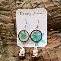 Penniform Sea Glass Earrings